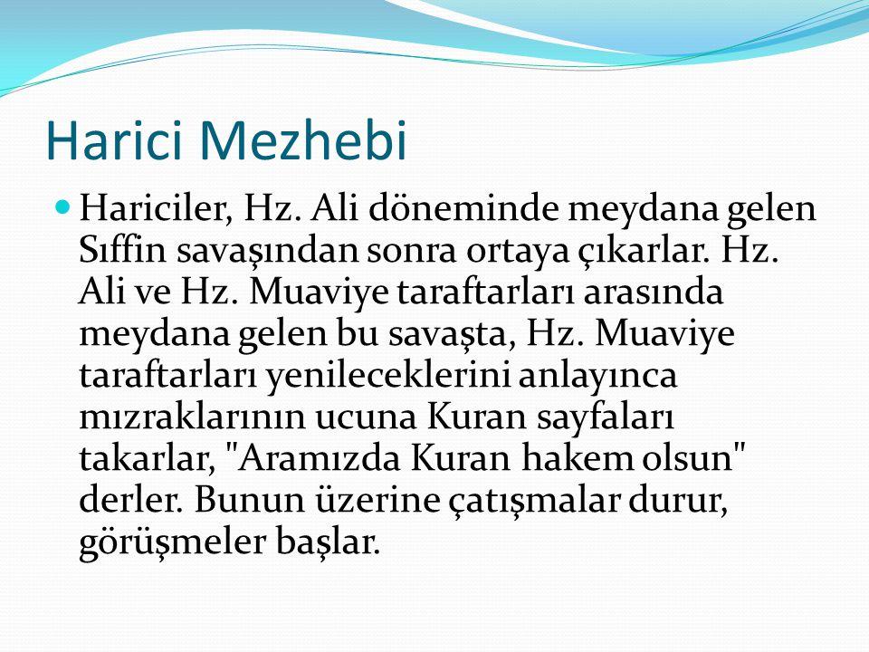 Harici Mezhebi Hariciler, Hz. Ali döneminde meydana gelen Sıffin savaşından sonra ortaya çıkarlar. Hz. Ali ve Hz. Muaviye taraftarları arasında meydan