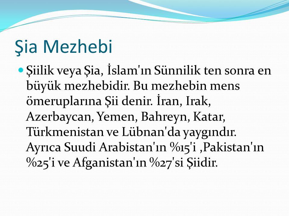 Şia Mezhebi Şiilik veya Şia, İslam'ın Sünnilik ten sonra en büyük mezhebidir. Bu mezhebin mens ömeruplarına Şii denir. İran, Irak, Azerbaycan, Yemen,