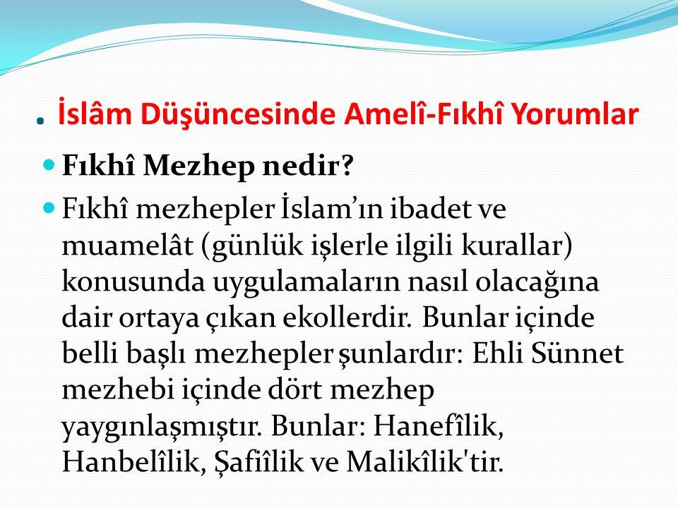 . İslâm Düşüncesinde Amelî-Fıkhî Yorumlar Fıkhî Mezhep nedir? Fıkhî mezhepler İslam'ın ibadet ve muamelât (günlük işlerle ilgili kurallar) konusunda u