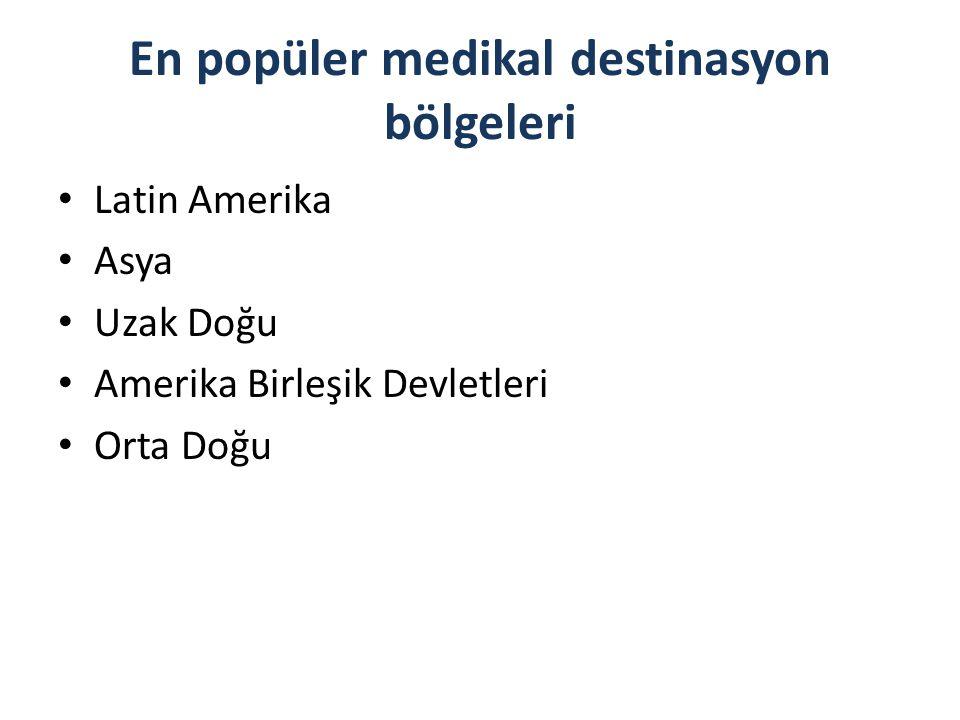 En popüler medikal destinasyon bölgeleri Latin Amerika Asya Uzak Doğu Amerika Birleşik Devletleri Orta Doğu
