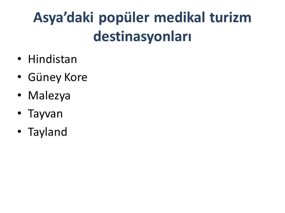 Asya'daki popüler medikal turizm destinasyonları Hindistan Güney Kore Malezya Tayvan Tayland