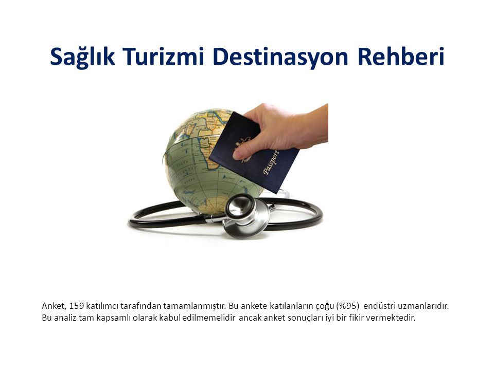 Sağlık Turizmi Destinasyon Rehberi Anket, 159 katılımcı tarafından tamamlanmıştır. Bu ankete katılanların çoğu (%95) endüstri uzmanlarıdır. Bu analiz