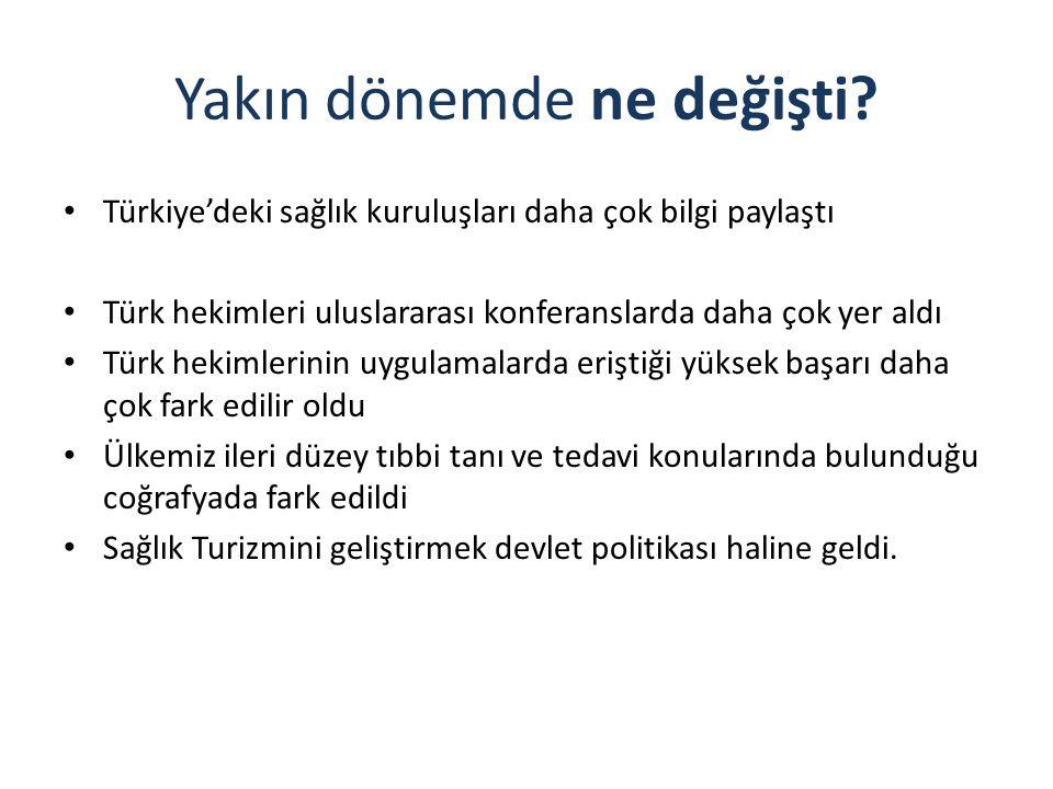 Yakın dönemde ne değişti? Türkiye'deki sağlık kuruluşları daha çok bilgi paylaştı Türk hekimleri uluslararası konferanslarda daha çok yer aldı Türk he