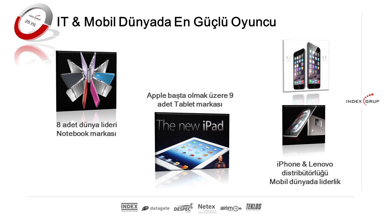 Apple başta olmak üzere 9 adet Tablet markası 8 adet dünya lideri Notebook markası IT & Mobil Dünyada En Güçlü Oyuncu iPhone & Lenovo distribütörlüğü Mobil dünyada liderlik