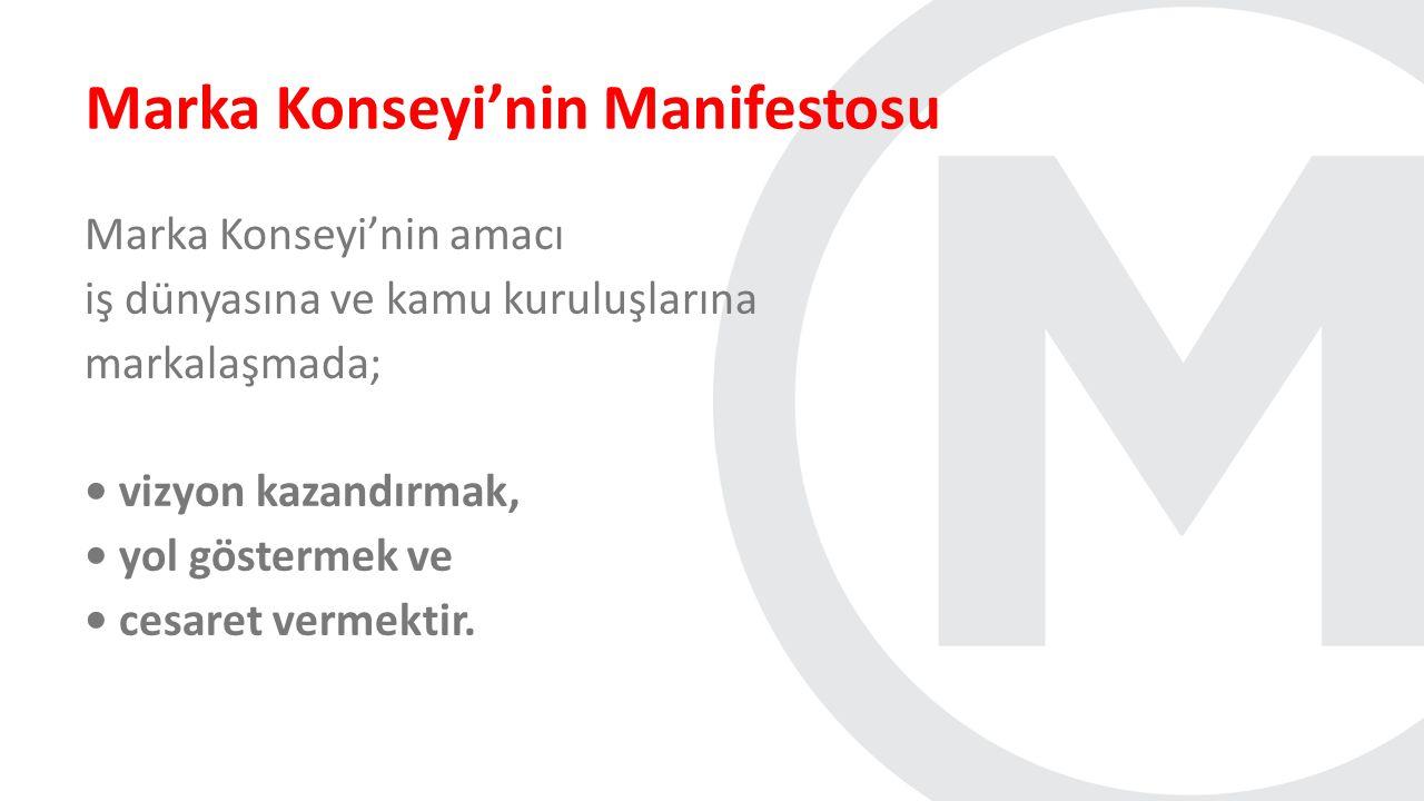 Marka Konseyi'nin Manifestosu Marka Konseyi'nin amacı iş dünyasına ve kamu kuruluşlarına markalaşmada; vizyon kazandırmak, yol göstermek ve cesaret ve