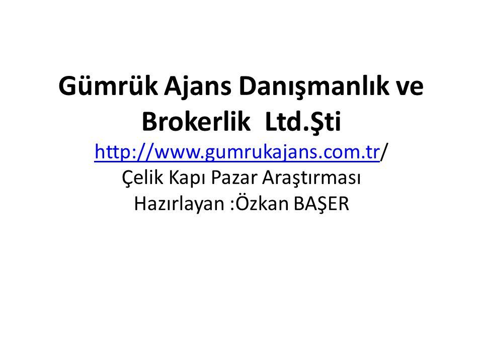 Gümrük Ajans Danışmanlık ve Brokerlik Ltd.Şti http://www.gumrukajans.com.tr/ Çelik Kapı Pazar Araştırması Hazırlayan :Özkan BAŞER http://www.gumrukaja