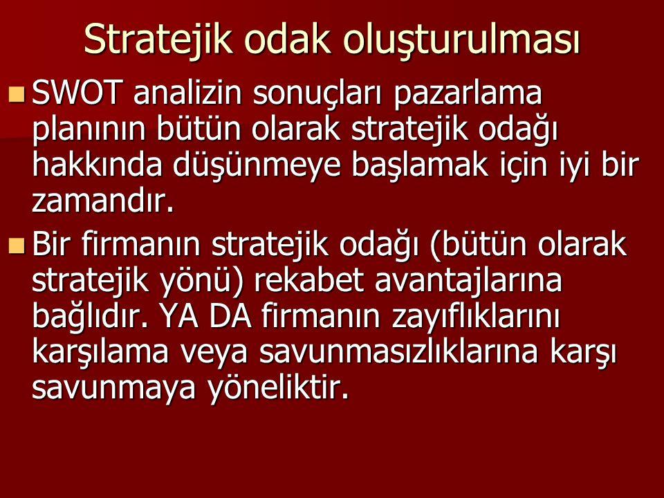 Stratejik odak oluşturulması SWOT analizin sonuçları pazarlama planının bütün olarak stratejik odağı hakkında düşünmeye başlamak için iyi bir zamandır