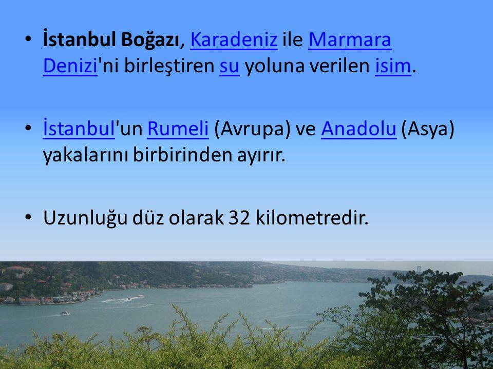 İstanbul Boğazı, Karadeniz ile Marmara Denizi'ni birleştiren su yoluna verilen isim.KaradenizMarmara Denizisuisim İstanbul'un Rumeli (Avrupa) ve Anado