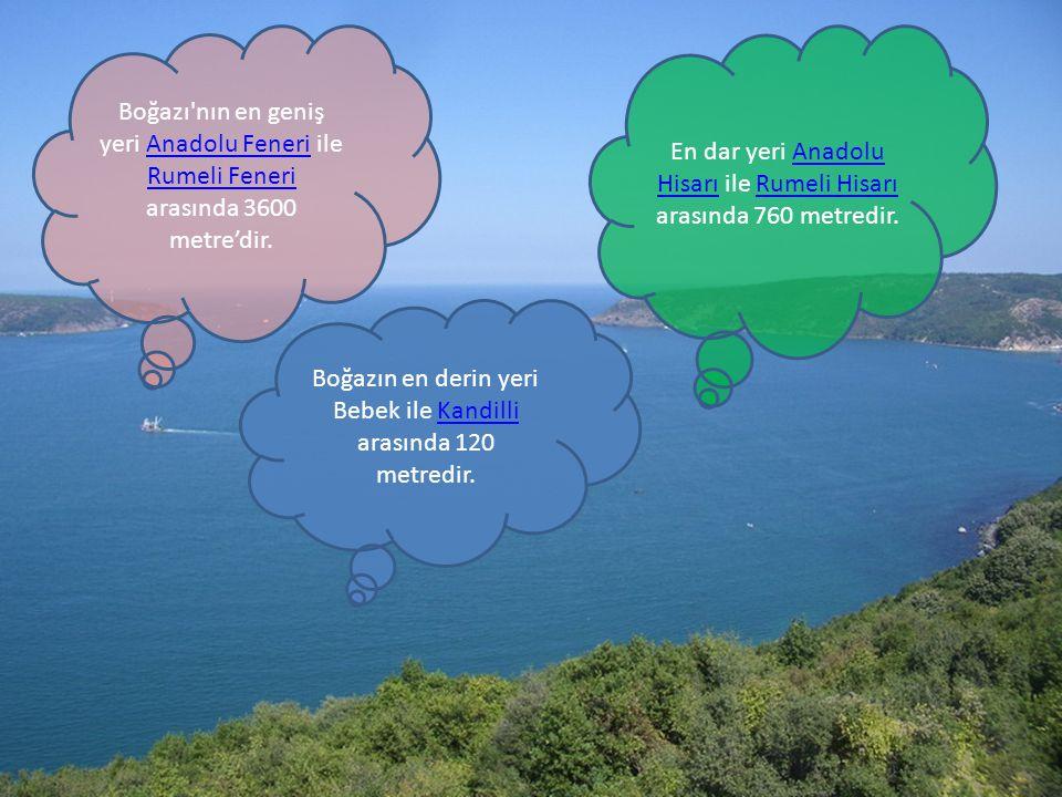 Boğazı'nın en geniş yeri Anadolu Feneri ile Rumeli Feneri arasında 3600 metre'dir.Anadolu Feneri Rumeli Feneri En dar yeri Anadolu Hisarı ile Rumeli H