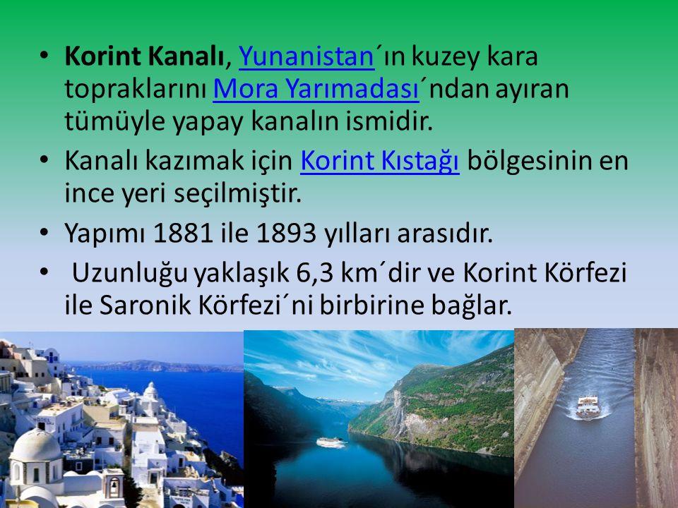 Korint Kanalı, Yunanistan´ın kuzey kara topraklarını Mora Yarımadası´ndan ayıran tümüyle yapay kanalın ismidir.YunanistanMora Yarımadası Kanalı kazıma
