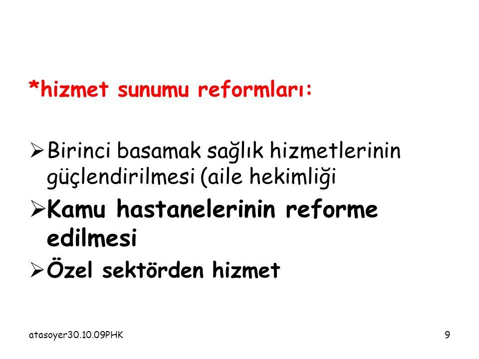atasoyer30.10.09PHK9 *hizmet sunumu reformları:  Birinci basamak sağlık hizmetlerinin güçlendirilmesi (aile hekimliği  Kamu hastanelerinin reforme edilmesi  Özel sektörden hizmet