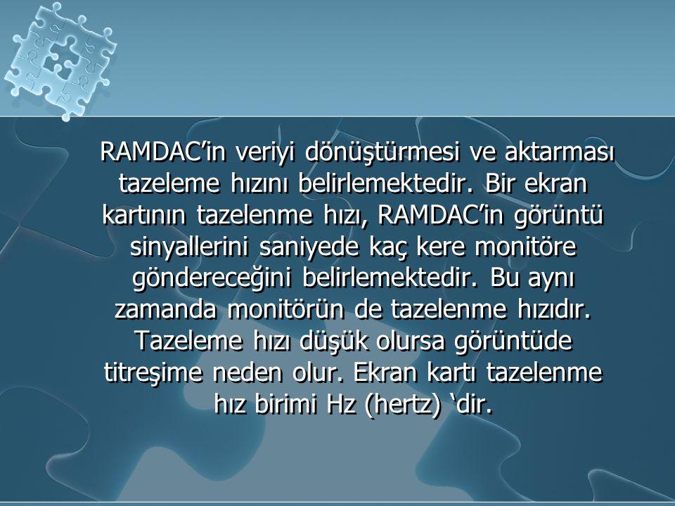 RAMDAC'in veriyi dönüştürmesi ve aktarması tazeleme hızını belirlemektedir. Bir ekran kartının tazelenme hızı, RAMDAC'in görüntü sinyallerini saniyede