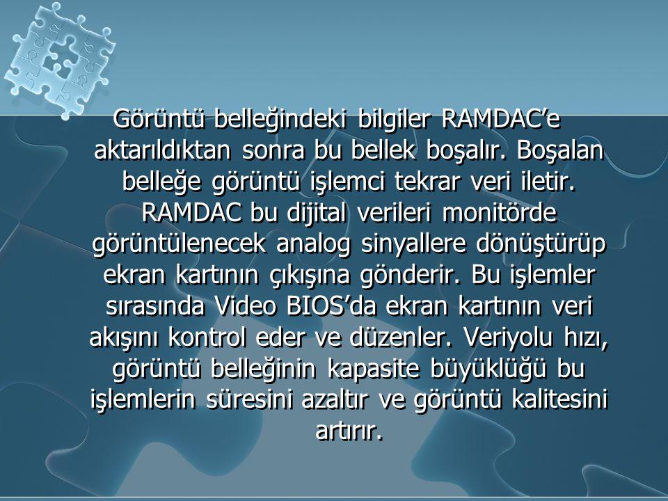 Görüntü belleğindeki bilgiler RAMDAC'e aktarıldıktan sonra bu bellek boşalır. Boşalan belleğe görüntü işlemci tekrar veri iletir. RAMDAC bu dijital ve