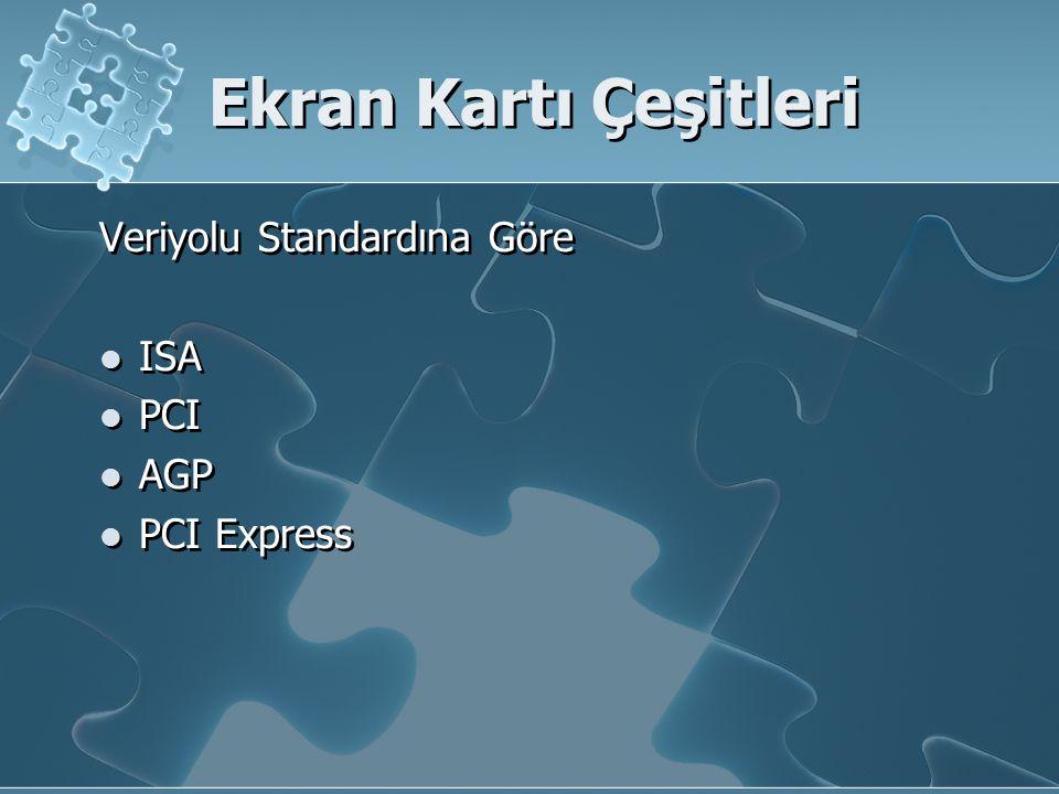 Ekran Kartı Çeşitleri Veriyolu Standardına Göre ISA PCI AGP PCI Express Veriyolu Standardına Göre ISA PCI AGP PCI Express