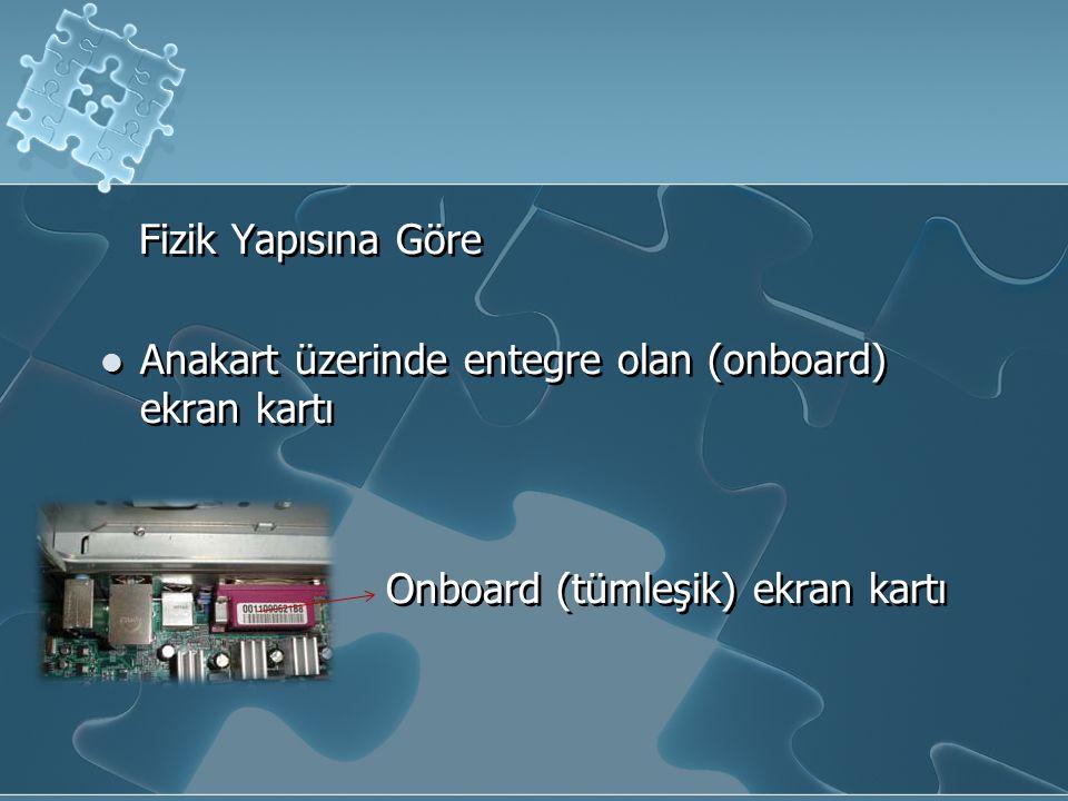 Fizik Yapısına Göre Anakart üzerinde entegre olan (onboard) ekran kartı Onboard (tümleşik) ekran kartı Fizik Yapısına Göre Anakart üzerinde entegre olan (onboard) ekran kartı Onboard (tümleşik) ekran kartı