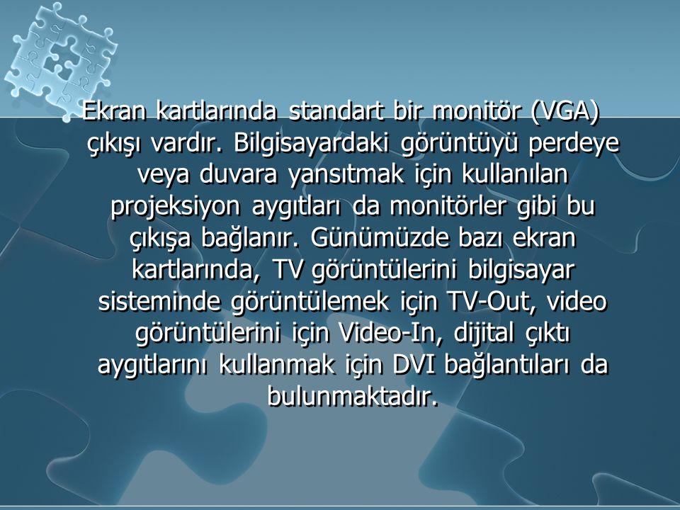 Ekran kartlarında standart bir monitör (VGA) çıkışı vardır. Bilgisayardaki görüntüyü perdeye veya duvara yansıtmak için kullanılan projeksiyon aygıtla