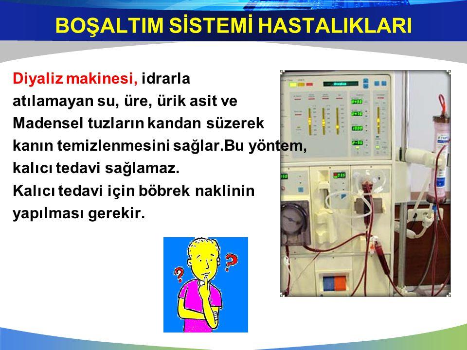 Diyaliz makinesi, idrarla atılamayan su, üre, ürik asit ve Madensel tuzların kandan süzerek kanın temizlenmesini sağlar.Bu yöntem, kalıcı tedavi sağla