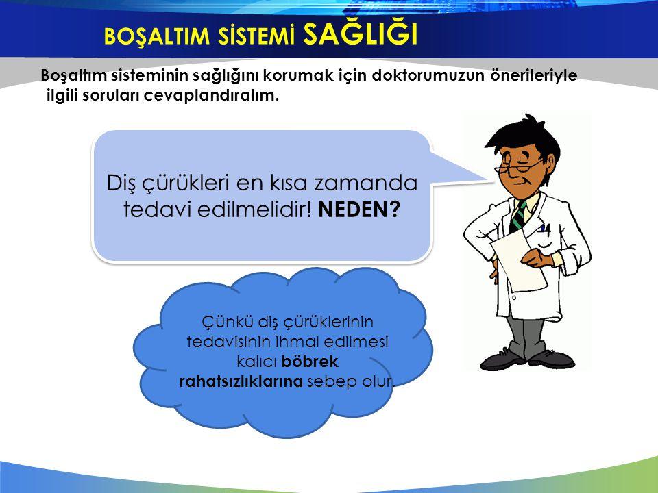 Boşaltım sisteminin sağlığını korumak için doktorumuzun önerileriyle ilgili soruları cevaplandıralım. Diş çürükleri en kısa zamanda tedavi edilmelidir