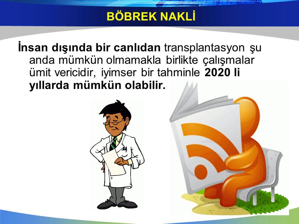 İnsan dışında bir canlıdan transplantasyon şu anda mümkün olmamakla birlikte çalışmalar ümit vericidir, iyimser bir tahminle 2020 li yıllarda mümkün o
