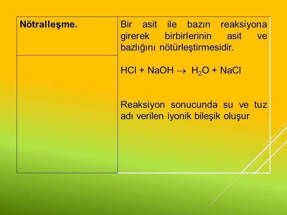 Nötralleşme.Bir asit ile bazın reaksiyona girerek birbirlerinin asit ve bazlığını nötürleştirmesidir. HCl + NaOH  H 2 O + NaCl Reaksiyon sonucunda su