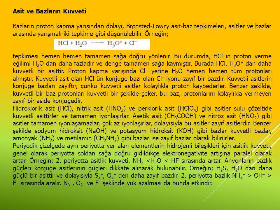 Asit ve Bazların Kuvveti Bazların proton kapma yarışından dolayı, Brønsted-Lowry asit-baz tepkimeleri, asitler ve bazlar arasında yarışmalı iki tepkim