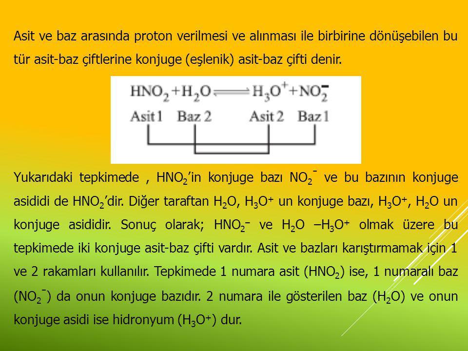 Asit ve baz arasında proton verilmesi ve alınması ile birbirine dönüşebilen bu tür asit-baz çiftlerine konjuge (eşlenik) asit-baz çifti denir. Yukarıd
