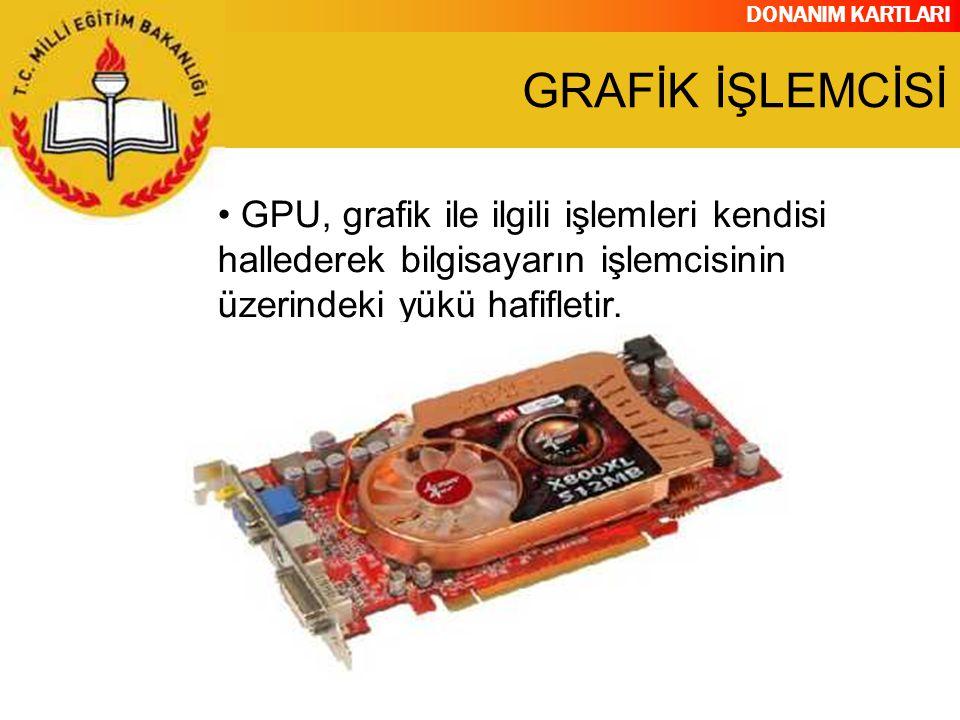 DONANIM KARTLARI GPU, grafik ile ilgili işlemleri kendisi hallederek bilgisayarın işlemcisinin üzerindeki yükü hafifletir. GRAFİK İŞLEMCİSİ