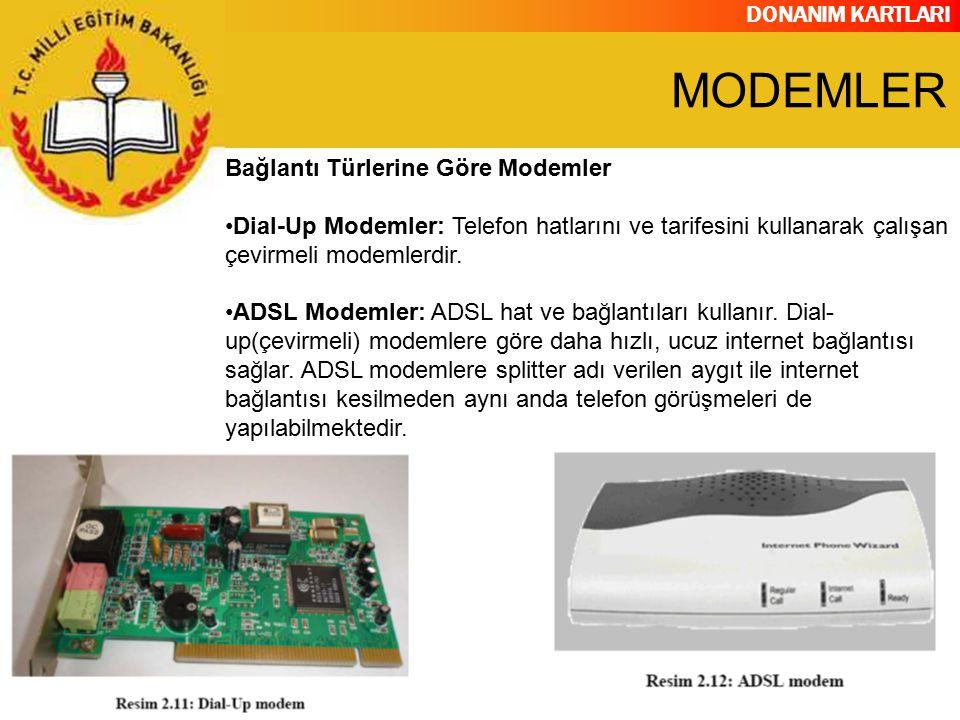 DONANIM KARTLARI Bağlantı Türlerine Göre Modemler Dial-Up Modemler: Telefon hatlarını ve tarifesini kullanarak çalışan çevirmeli modemlerdir. ADSL Mod