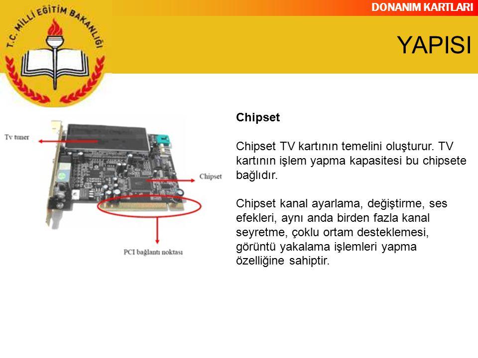 DONANIM KARTLARI Chipset Chipset TV kartının temelini oluşturur. TV kartının işlem yapma kapasitesi bu chipsete bağlıdır. Chipset kanal ayarlama, deği