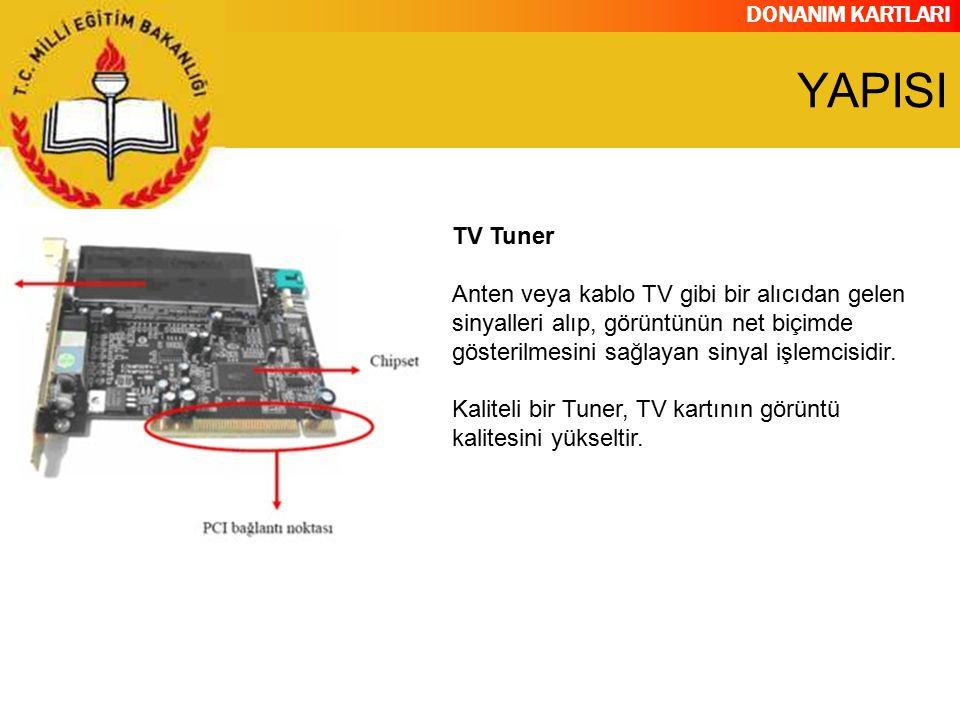 DONANIM KARTLARI TV Tuner Anten veya kablo TV gibi bir alıcıdan gelen sinyalleri alıp, görüntünün net biçimde gösterilmesini sağlayan sinyal işlemcisi