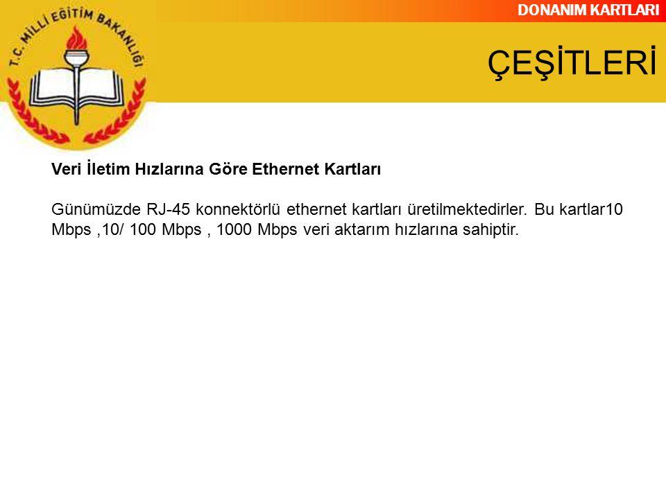 DONANIM KARTLARI Veri İletim Hızlarına Göre Ethernet Kartları Günümüzde RJ-45 konnektörlü ethernet kartları üretilmektedirler. Bu kartlar10 Mbps,10/ 1
