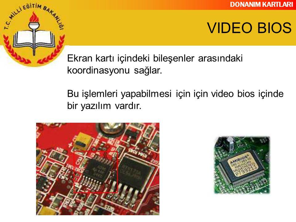 DONANIM KARTLARI Ekran kartı içindeki bileşenler arasındaki koordinasyonu sağlar. Bu işlemleri yapabilmesi için için video bios içinde bir yazılım var