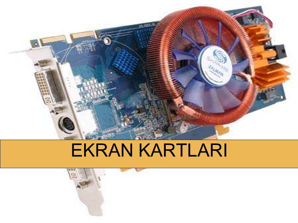 DONANIM KARTLARI Ekran kartının görüntü belleğindeki dijital (sayısal) verileri monitörde görüntülenecek analog sinyallere dönüştürerek ekran kartının monitör çıkışına gönderir.
