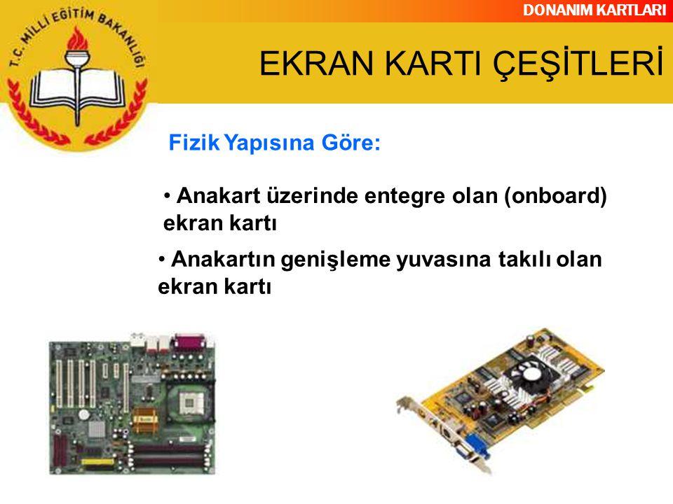 DONANIM KARTLARI Anakartın genişleme yuvasına takılı olan ekran kartı Fizik Yapısına Göre: Anakart üzerinde entegre olan (onboard) ekran kartı EKRAN K