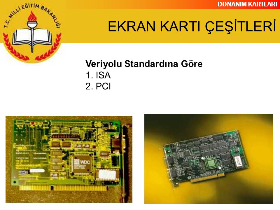 DONANIM KARTLARI Veriyolu Standardına Göre 1. ISA 2. PCI EKRAN KARTI ÇEŞİTLERİ