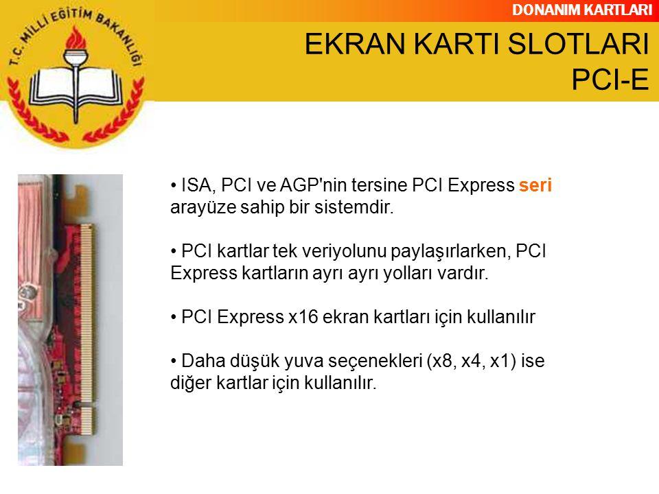 DONANIM KARTLARI ISA, PCI ve AGP'nin tersine PCI Express seri arayüze sahip bir sistemdir. PCI kartlar tek veriyolunu paylaşırlarken, PCI Express kart