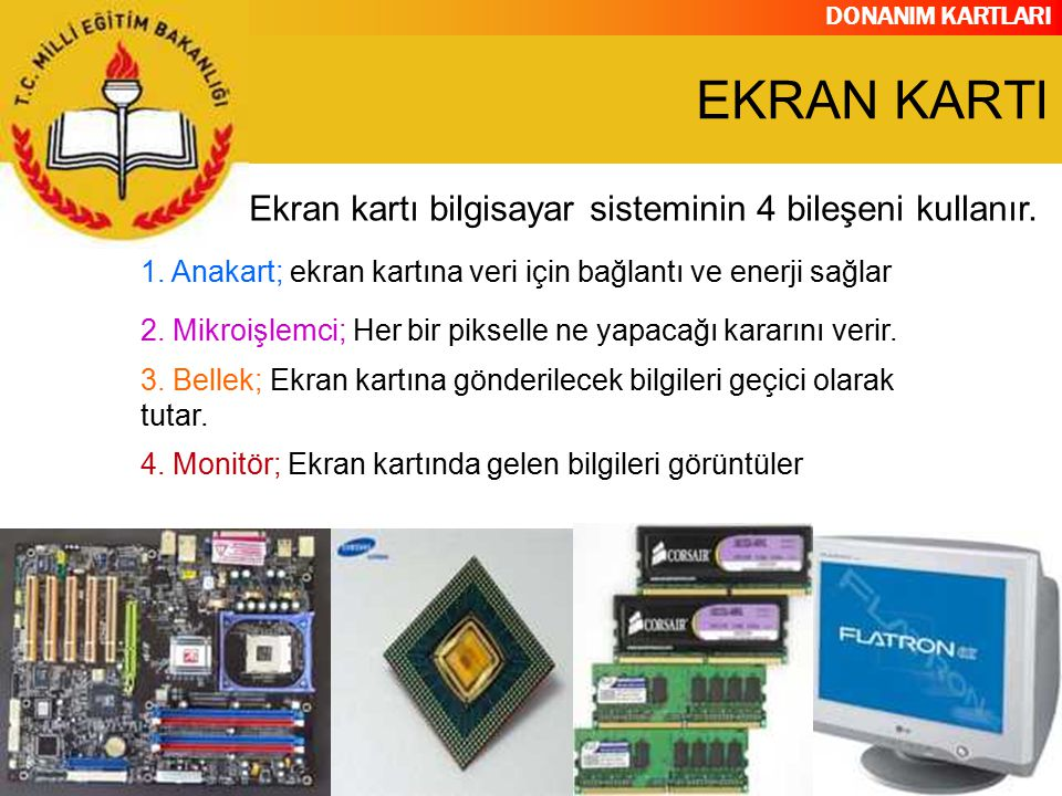 DONANIM KARTLARI Günümüzdeki ekran kartları ise görüntülenecek bilgileri kendisi işleyebilecek grafik işlemcilere sahiptirler.