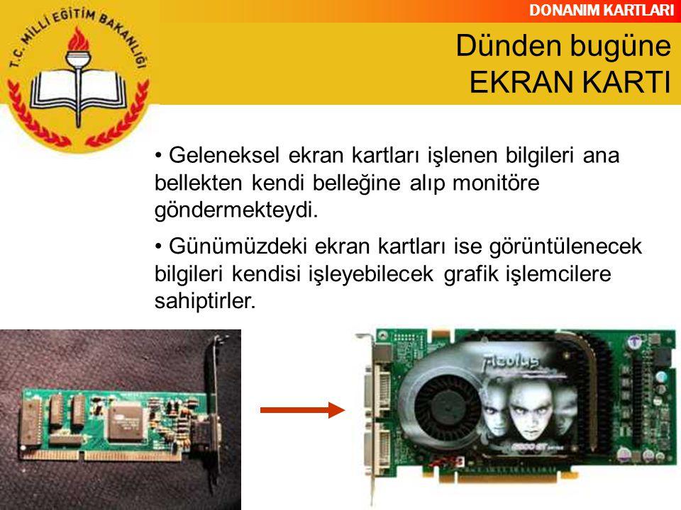 DONANIM KARTLARI Grafik İşlemcisi (GPU) Görüntü Belleği (Video RAM) Dijital Analog Çevirici (RAMDAC) Video BIOS Ekran Kartı Çıkış Bağlantıları(VGA-Out, DVI-Out, Video- İn/Out, Tv-Out Soğutucu Z-Buffer (Tampon Bellek) V-Sync Video Codec YAPISI
