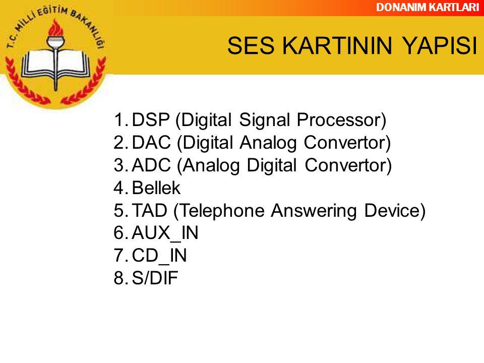 DONANIM KARTLARI 1.DSP (Digital Signal Processor) 2.DAC (Digital Analog Convertor) 3.ADC (Analog Digital Convertor) 4.Bellek 5.TAD (Telephone Answerin