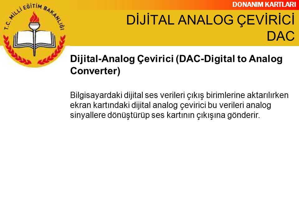 DONANIM KARTLARI Bilgisayardaki dijital ses verileri çıkış birimlerine aktarılırken ekran kartındaki dijital analog çevirici bu verileri analog sinyal