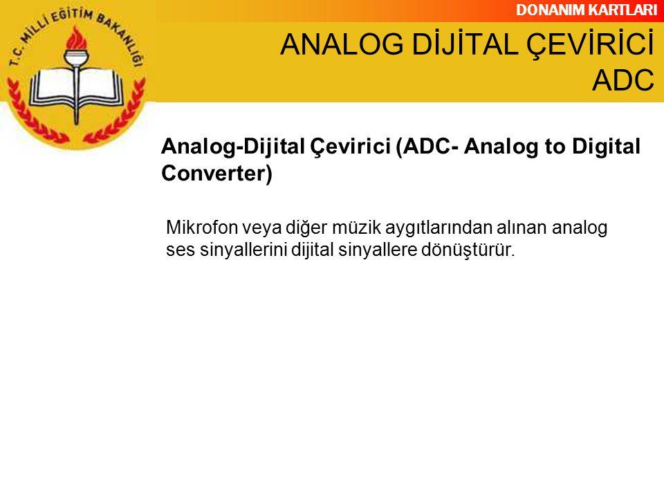 DONANIM KARTLARI Mikrofon veya diğer müzik aygıtlarından alınan analog ses sinyallerini dijital sinyallere dönüştürür. Analog-Dijital Çevirici (ADC- A