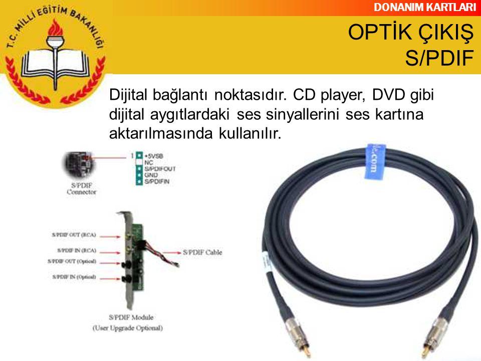 DONANIM KARTLARI Dijital bağlantı noktasıdır. CD player, DVD gibi dijital aygıtlardaki ses sinyallerini ses kartına aktarılmasında kullanılır. OPTİK Ç