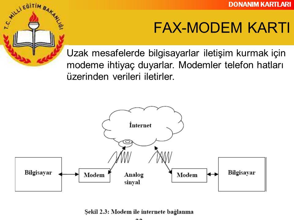 DONANIM KARTLARI Uzak mesafelerde bilgisayarlar iletişim kurmak için modeme ihtiyaç duyarlar. Modemler telefon hatları üzerinden verileri iletirler. F