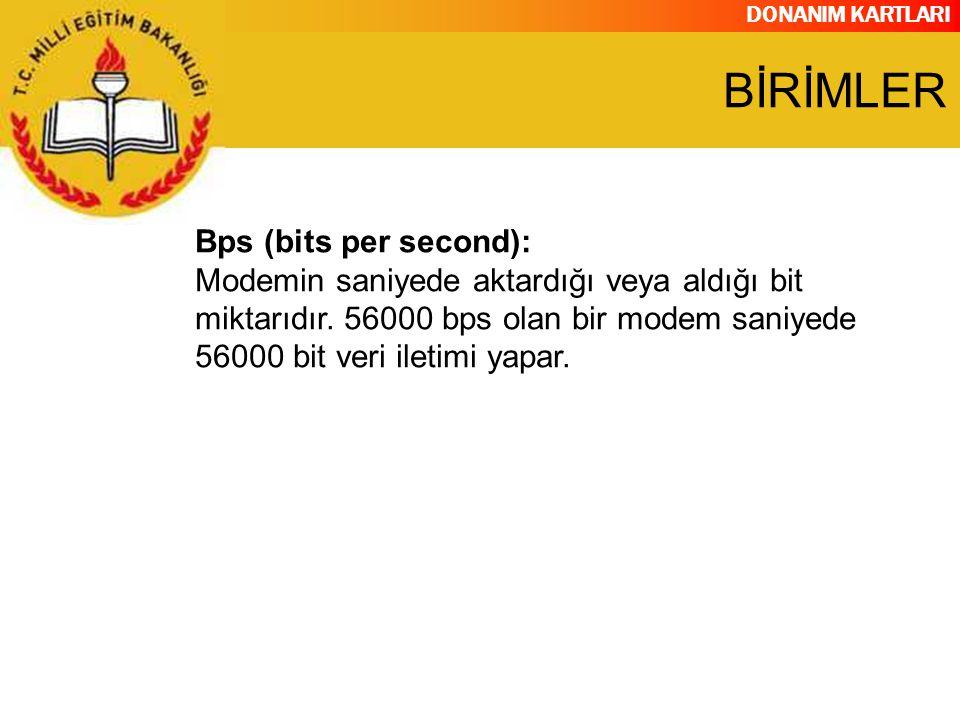 DONANIM KARTLARI Bps (bits per second): Modemin saniyede aktardığı veya aldığı bit miktarıdır. 56000 bps olan bir modem saniyede 56000 bit veri iletim