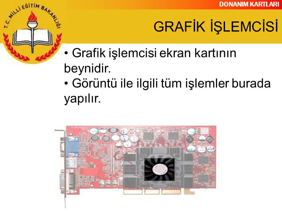 DONANIM KARTLARI Grafik işlemcisi ekran kartının beynidir. Görüntü ile ilgili tüm işlemler burada yapılır. GRAFİK İŞLEMCİSİ