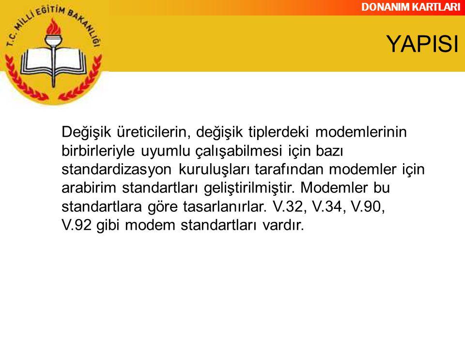 DONANIM KARTLARI Değişik üreticilerin, değişik tiplerdeki modemlerinin birbirleriyle uyumlu çalışabilmesi için bazı standardizasyon kuruluşları tarafı