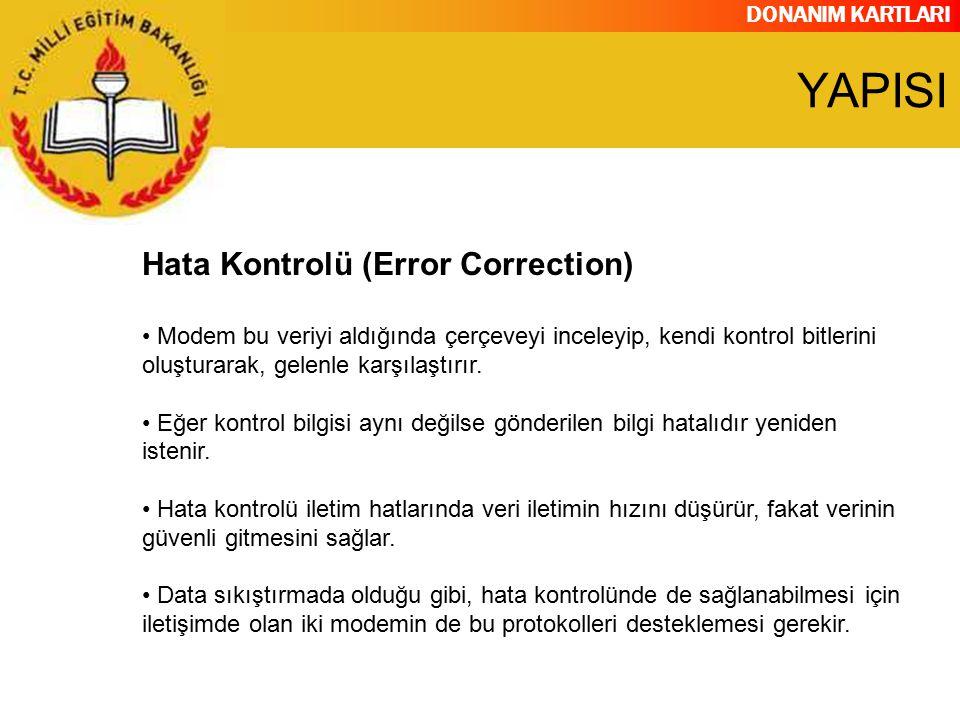 DONANIM KARTLARI Hata Kontrolü (Error Correction) Modem bu veriyi aldığında çerçeveyi inceleyip, kendi kontrol bitlerini oluşturarak, gelenle karşılaş