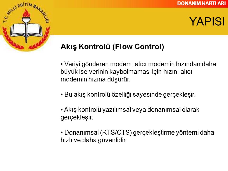 DONANIM KARTLARI Akış Kontrolü (Flow Control) Veriyi gönderen modem, alıcı modemin hızından daha büyük ise verinin kaybolmaması için hızını alıcı mode