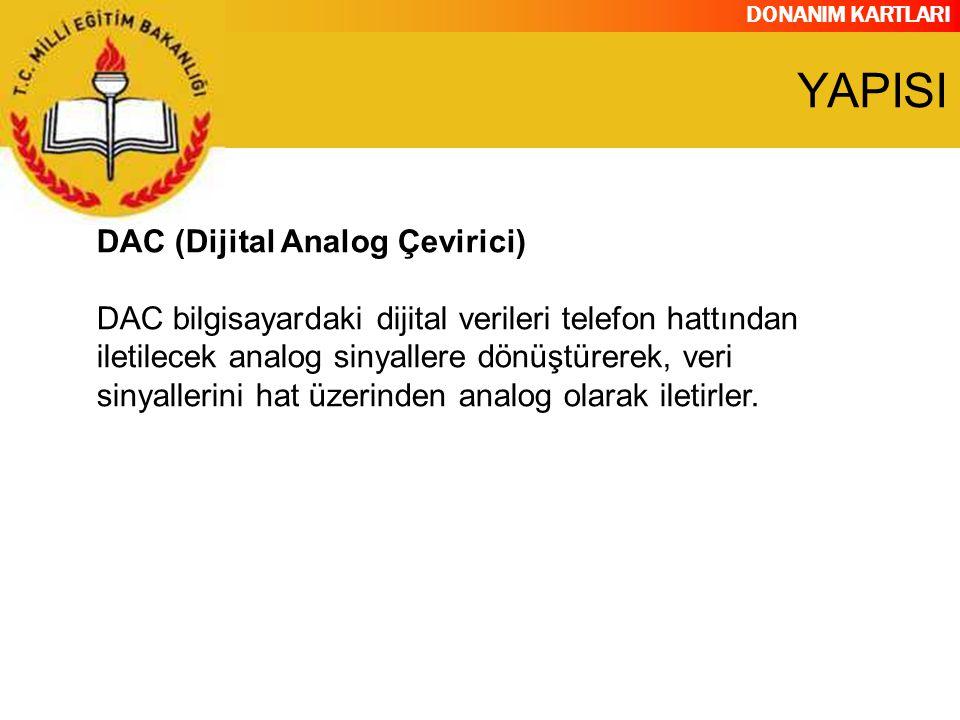 DONANIM KARTLARI DAC (Dijital Analog Çevirici) DAC bilgisayardaki dijital verileri telefon hattından iletilecek analog sinyallere dönüştürerek, veri s