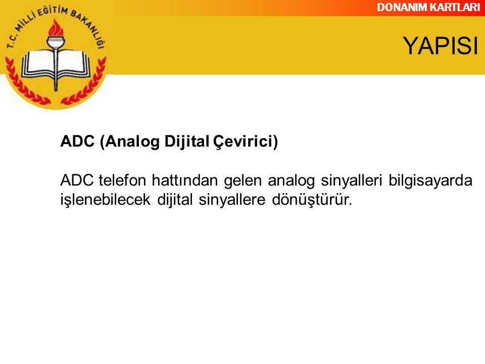 DONANIM KARTLARI ADC (Analog Dijital Çevirici) ADC telefon hattından gelen analog sinyalleri bilgisayarda işlenebilecek dijital sinyallere dönüştürür.